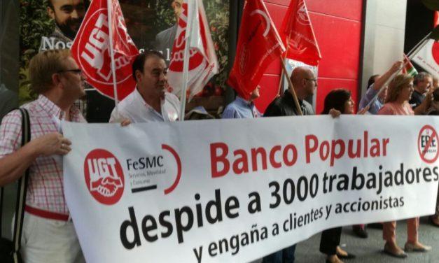FeSMC UGT Jaén se manifiesta contra el ERE del Banco Popular que afecta al 25% de la plantilla