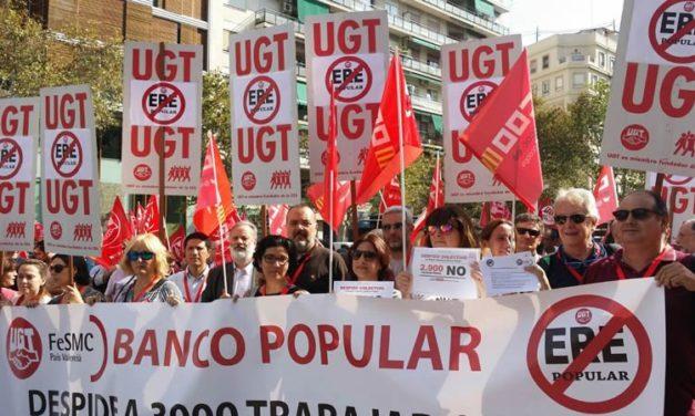 Los trabajadores y trabajadoras de Banco Popular y Banco Pastor se movilizan hoy contra un ERE salvaje